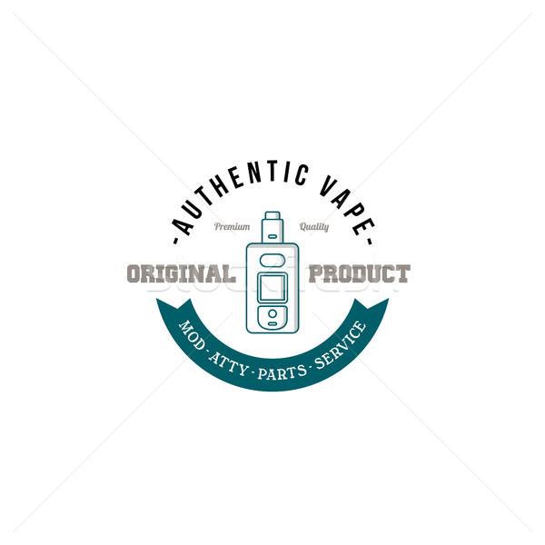 электрических сигарету личные ретро Label Знак Сток-фото © vector1st