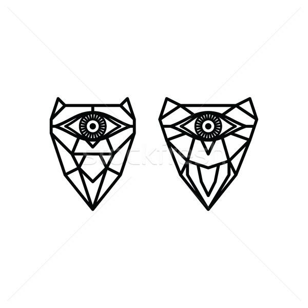 1 眼 フクロウ ロゴ ロゴタイプ ベクトル ストックフォト © vector1st