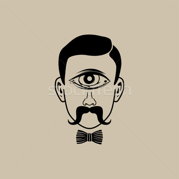 all seeing eye retro gentleman with bow tie Stock photo © vector1st