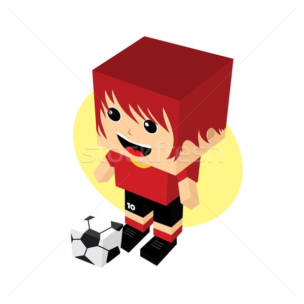Karikatür futbolcu izometrik vektör sanat örnek Stok fotoğraf © vector1st