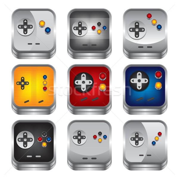 Jogo consolá ícone botão vetor gráfico Foto stock © vector1st