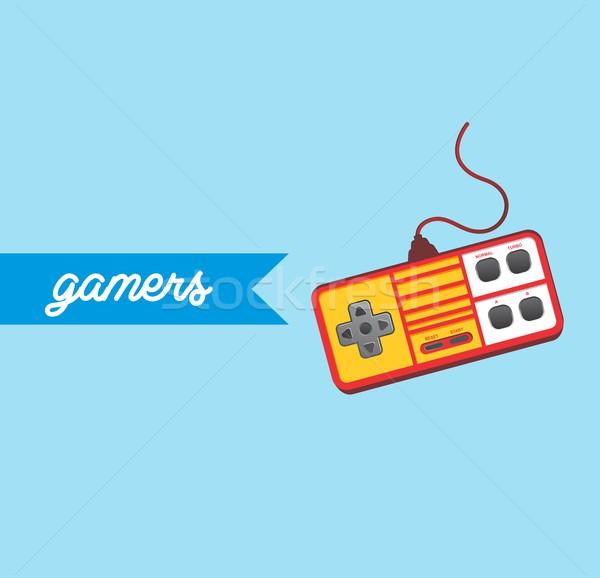Videojáték konzol vektor művészet grafikus illusztráció Stock fotó © vector1st