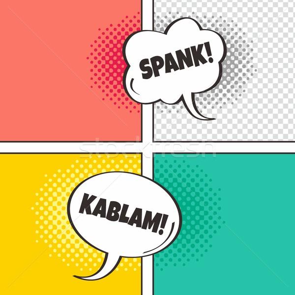 Komik şablon konuşma balonu yarım ton sanat Stok fotoğraf © vector1st