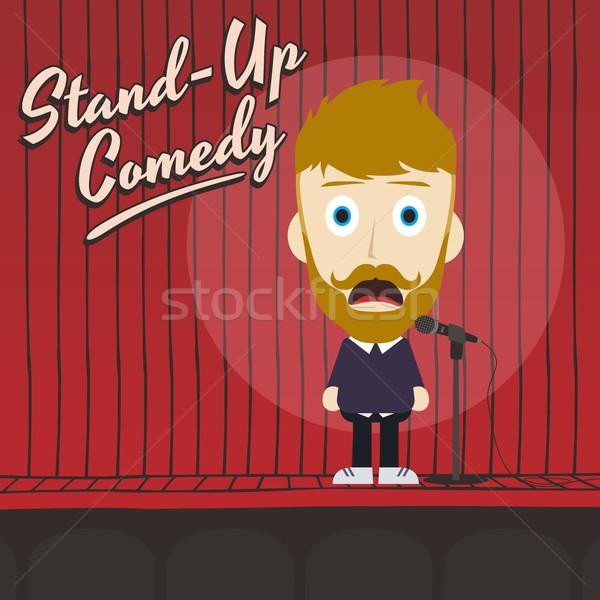 Ragazzo stand up comico cartoon Foto d'archivio © vector1st