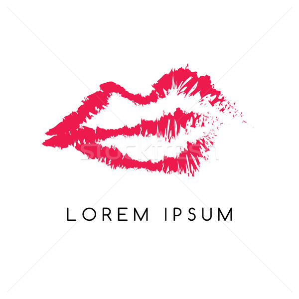 red girl lips logotype sketchy theme Stock photo © vector1st