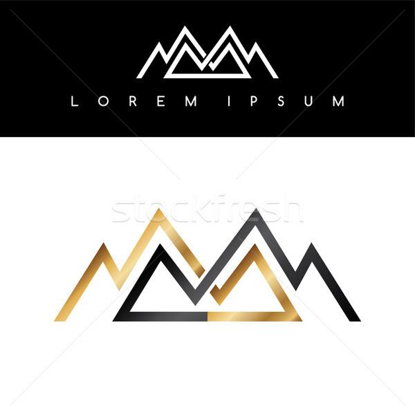 Lijn bergen symbool gouden monochromatisch teken Stockfoto © vector1st