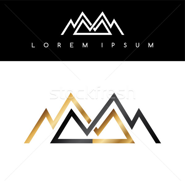Ligne montagnes symbole or monochromatique signe Photo stock © vector1st