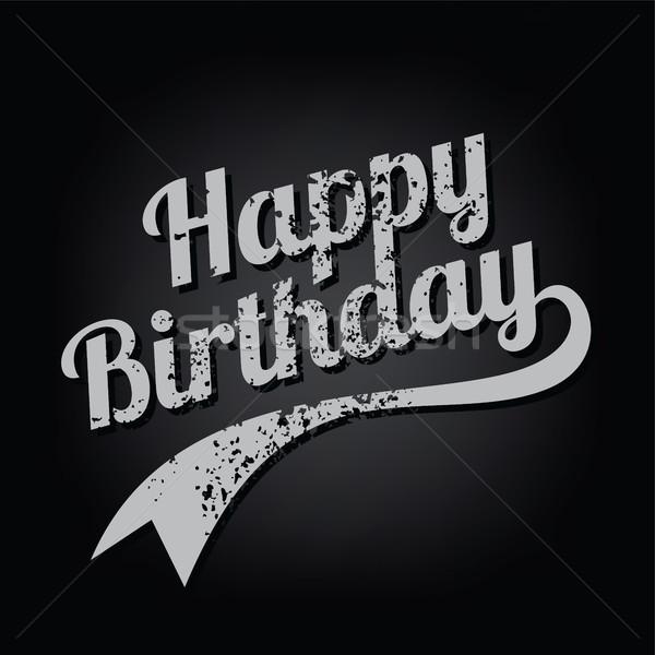 happy birthday greeting grungy varsity text art vector Stock photo © vector1st