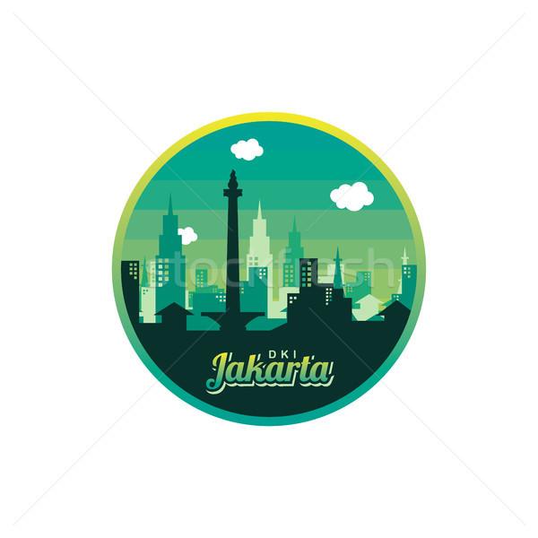 Város Dzsakarta címke kitűző matrica logo Stock fotó © vector1st