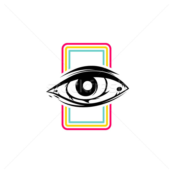 Stock photo: one eye theme sign template