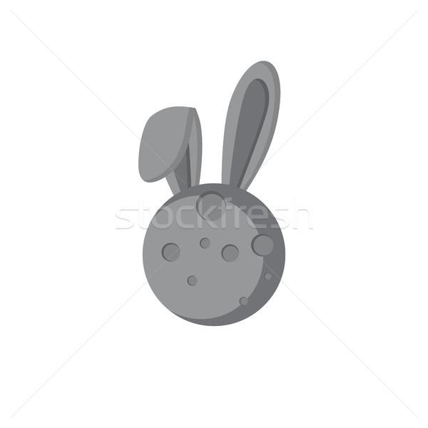 moon rabbit theme vector art logo Stock photo © vector1st