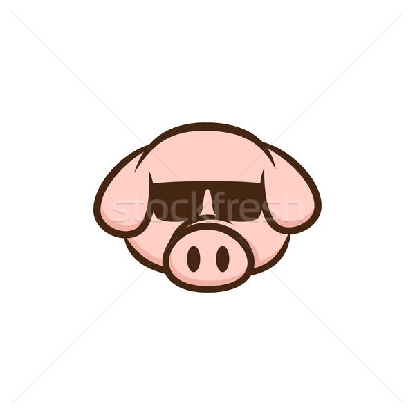 cool pig with sunglasses cartoon Stock photo © vector1st