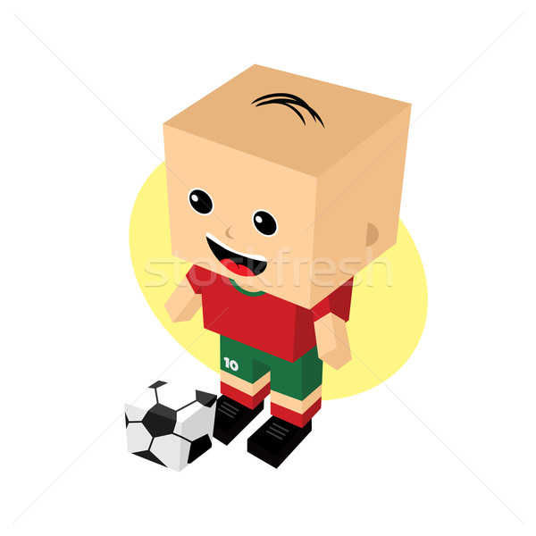 Stok fotoğraf: Karikatür · futbolcu · izometrik · vektör · sanat · örnek