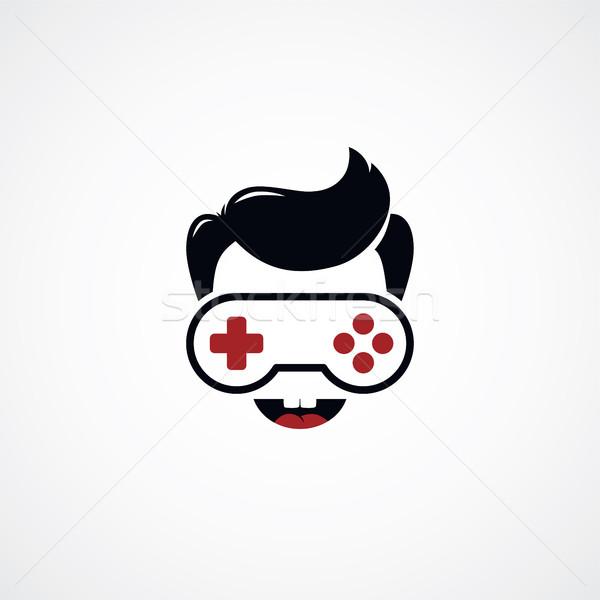 ビデオゲーム 少年 ジョイスティック ロゴタイプ ゲーム 男 ストックフォト © vector1st
