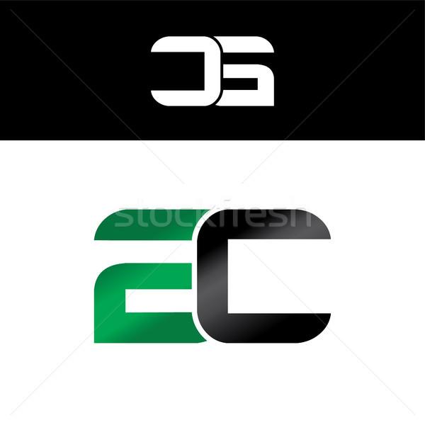 initial letter linked overlapped uppercase logo green black Stock photo © vector1st
