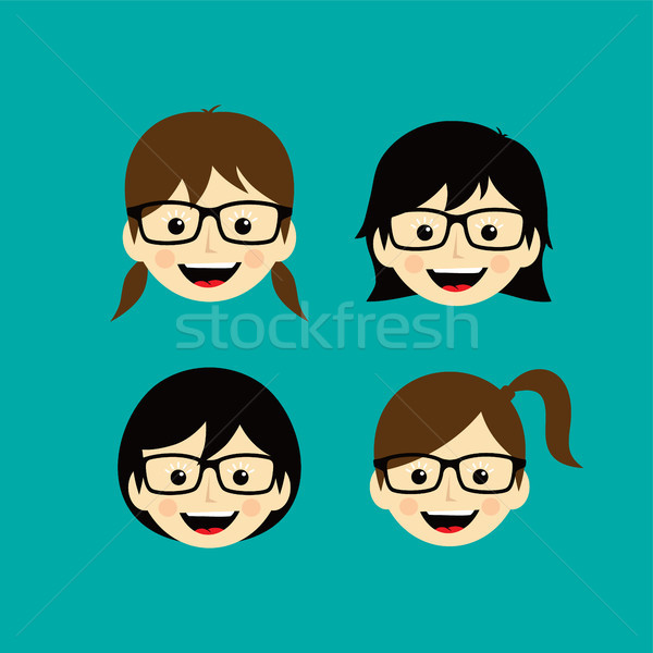 geek cartoon face expression female woman girl vector art Stock photo © vector1st