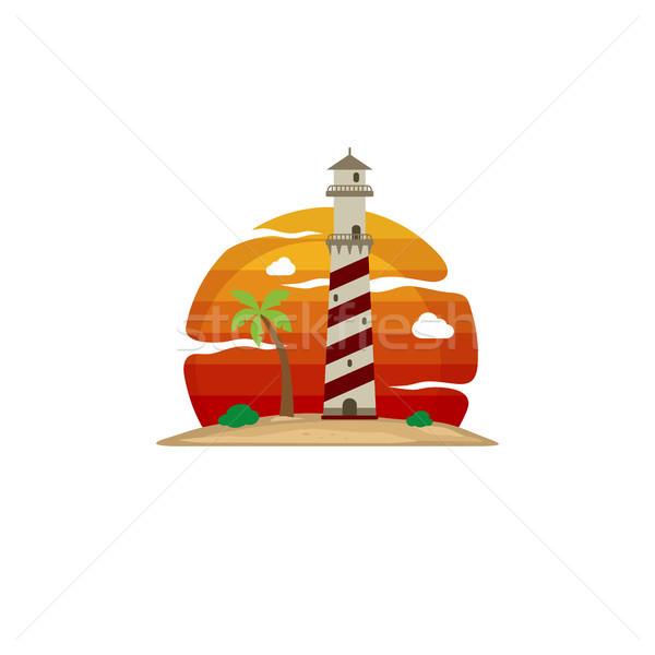 灯台 ビーチ 島 表示 ベクトル 芸術 ストックフォト © vector1st