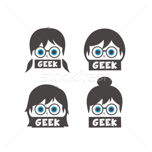 молодые geek девушки Cartoon лице волос Сток-фото © vector1st