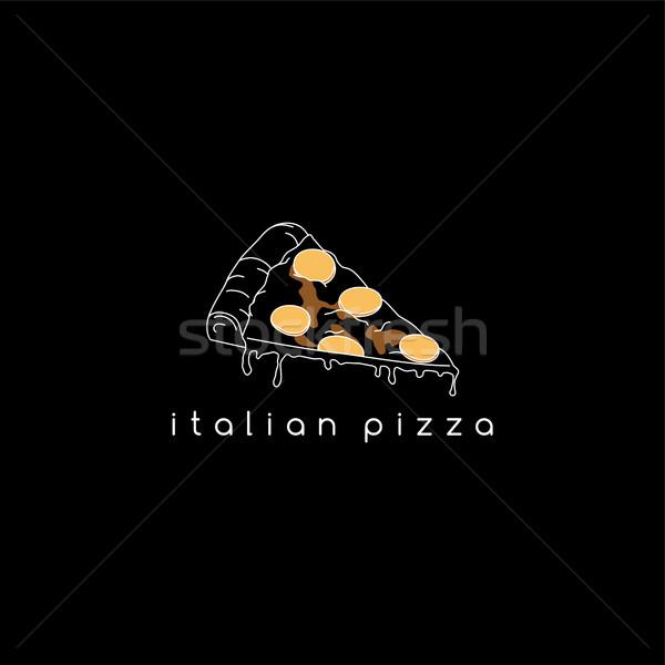 Pizza slice vector kunst illustratie voedsel Stockfoto © vector1st