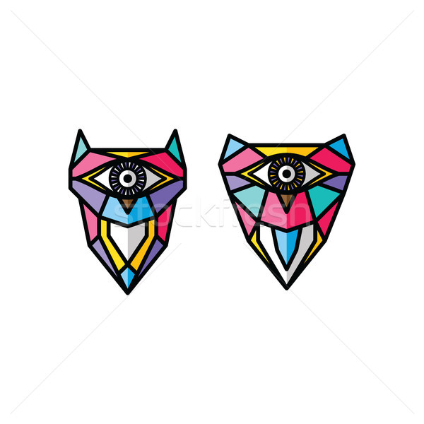 one eye owl logo logotype colorful theme vector Stock photo © vector1st