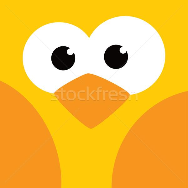 Praça pássaro cara ícone botão vetor Foto stock © vector1st
