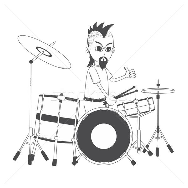 Guitarra cara desenho animado vetor Foto stock © vector1st