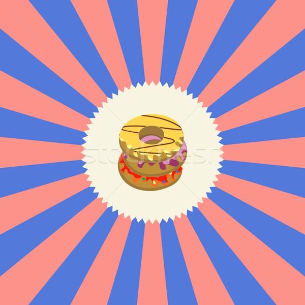 Voedsel drinken donut grafische kunst restaurant Stockfoto © vector1st