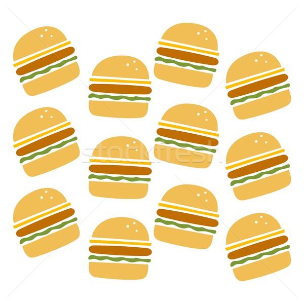 Hamburger minta szett vektor művészet illusztráció Stock fotó © vector1st