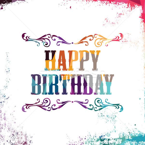 Gelukkige verjaardag kleurrijk driehoek meetkundig textuur Stockfoto © vector1st
