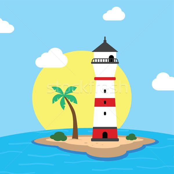 beach lighthouse seashore view Stock photo © vector1st