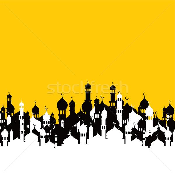 Iszlám mecset imádkozik vektor művészet illusztráció Stock fotó © vector1st