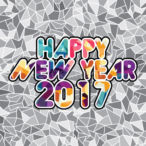 happy new year text abstract triangle color mosaic Stock photo © vector1st