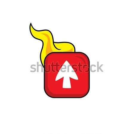 горячей пламени икона кнопки вектора искусства Сток-фото © vector1st