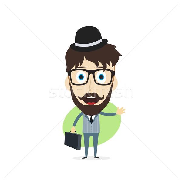 Szczęśliwy biznesmen wektora sztuki ilustracja Zdjęcia stock © vector1st