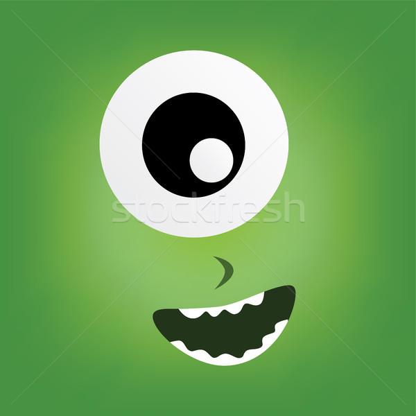 Groene monster karakter gezicht vector kunst Stockfoto © vector1st
