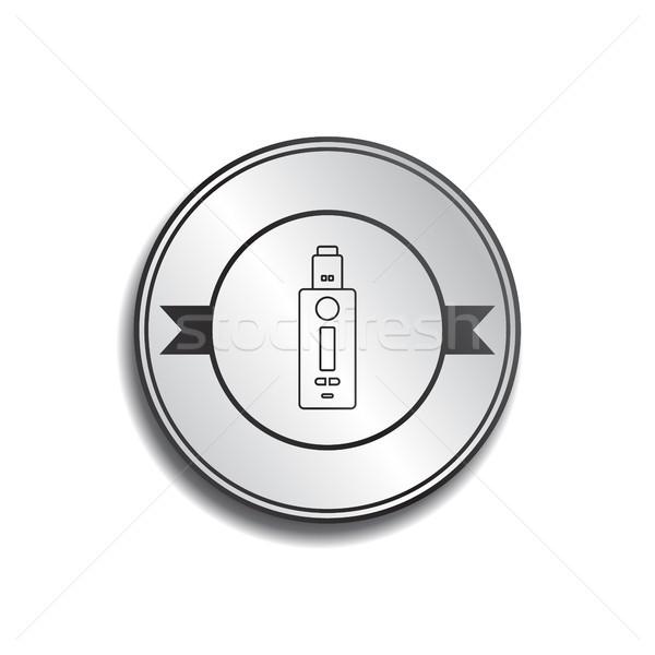 Retro cor distintivo elétrico cigarro vetor Foto stock © vector1st