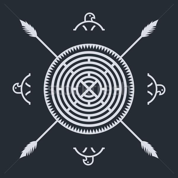 родной этнических искусства символ ткань орел Сток-фото © vector1st
