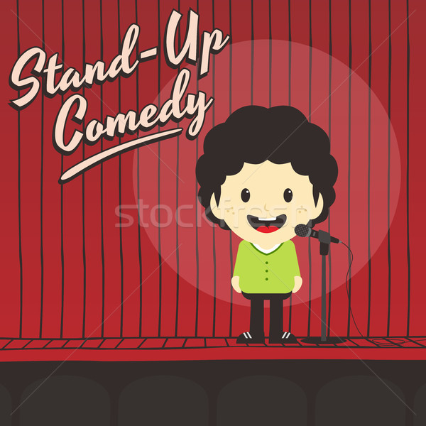 male stand up comedian cartoon character Stock photo © vector1st