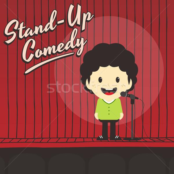 Mannelijke stand omhoog komiek muziek Stockfoto © vector1st