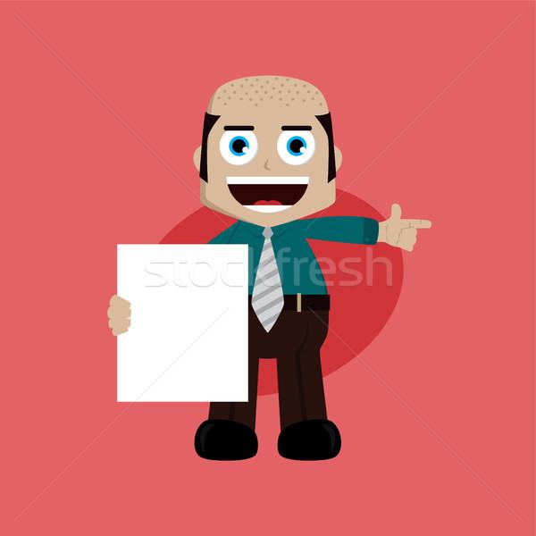 üzletember menedzser munka tart üres tábla rajz Stock fotó © vector1st