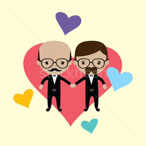 adorable gay spouse groom lovely cartoon marriage Stock photo © vector1st