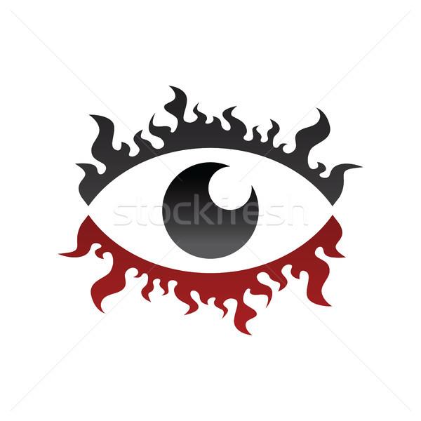 one eye look watch fire burn theme Stock photo © vector1st