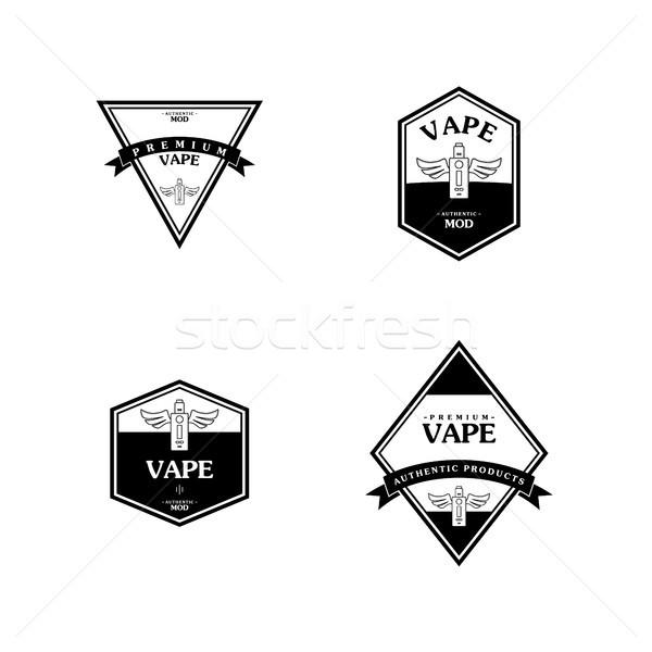 Elektrik sigara kişisel Retro etiket rozet Stok fotoğraf © vector1st