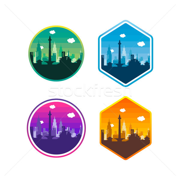 city of jakarta label badge sticker logo template set Stock photo © vector1st