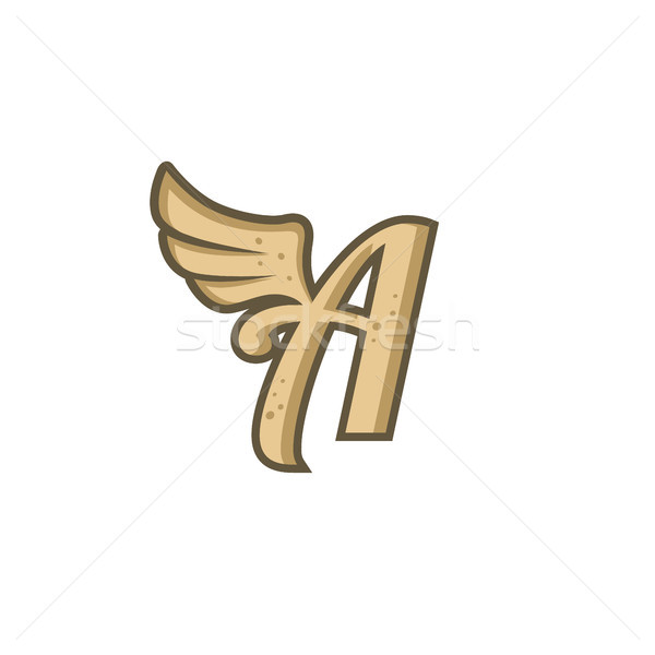 alphabet letter with angel bird wing Stock photo © vector1st
