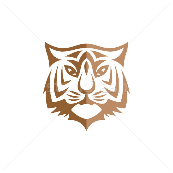intimidating tiger front view theme logo template Stock photo © vector1st