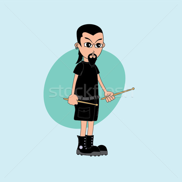 male cartoon character drummer music band Stock photo © vector1st