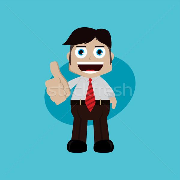 Zakenman manager werk duim omhoog cartoon Stockfoto © vector1st