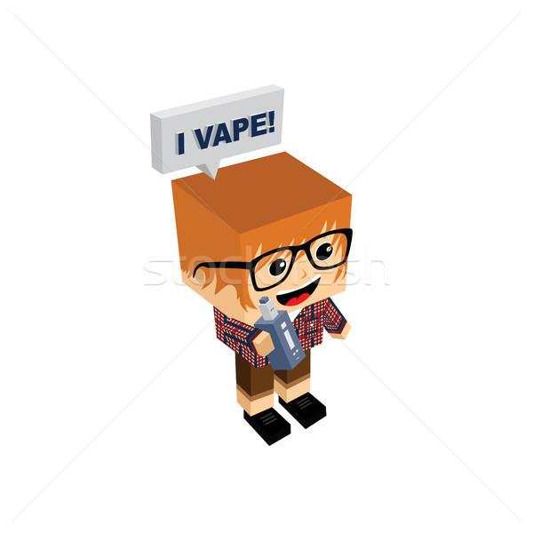 isometric block electric cigarette guy personal vaporizer Stock photo © vector1st