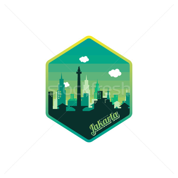 city of jakarta label badge sticker logo template Stock photo © vector1st